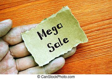 Mega Sale sign on the sheet.