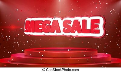 Mega Sale Text Animation Stage Podium Confetti Loop Animation