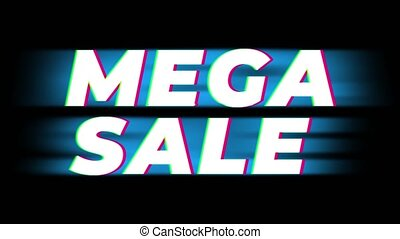 Mega Sale Text Vintage Glitch Effect Promotion . - Mega Sale...
