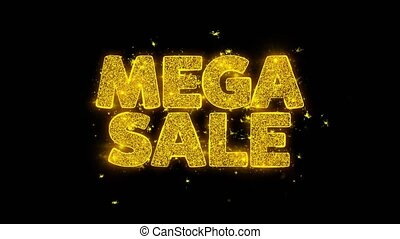 Mega Sale Typography Written with Golden Particles Sparks...