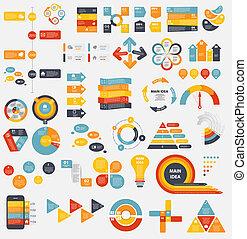 mega, samling, i, lejlighed, infographic, skabeloner, by, firma, vecto
