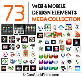 mega, sammlung, von, web, beweglich, entwerfen elemente