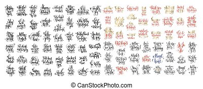 mega set of 100 hand lettering inscription to winter holiday