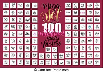 mega set of 100 hand lettering valentines and wedding quotes...