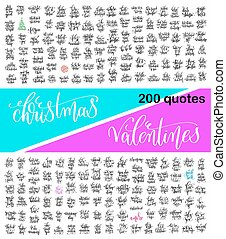 mega set of 200 hand lettering calligraphy quotes about christma