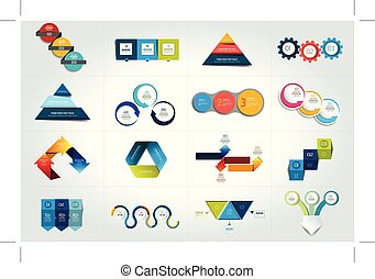 Mega set of 3 steps infographic templates, diagrams, graph, presentations, chart. Business three concept.