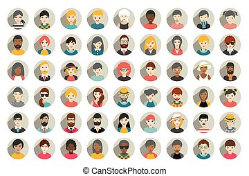 Mega set of circle persons, avatars, people heads different ...