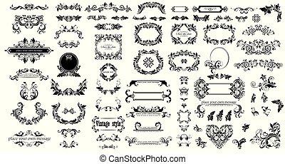Mega set of decorative vintage floral black frames, title and headers for wedding and heraldic design, fashion labels, ceremony, menu card, restaurant, cafe, hotel, jewellery store, logo templates, monogram