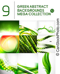 Mega set of green abstract backgrounds | summer or spring seasonal waves, swirls, textures, templates