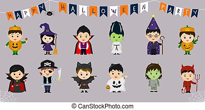 Mega set of Halloween symbols. Twelve pretty children in...