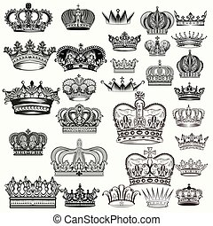 Mega set of hand drawn crowns in vintage engraved style...
