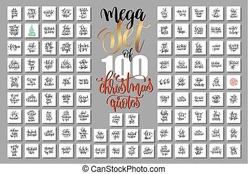 mega, set, van, honderd, kerstmis, lettering, citaten, om...