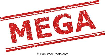 Red MEGA seal stamp on a white background. Flat vector distress seal stamp with MEGA phrase between double parallel lines. Imprint with distress style.