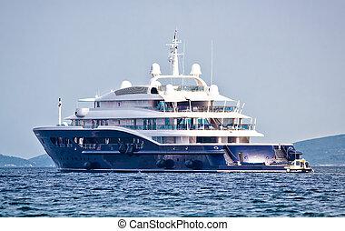 mega, yacht, luxus, meer, anonymus, rgeöffnete