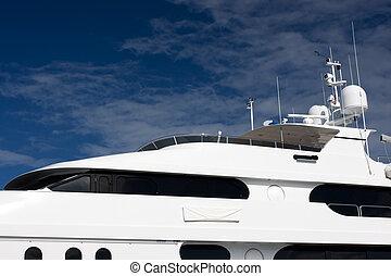mega yacht - flying bridge of white mega yacht