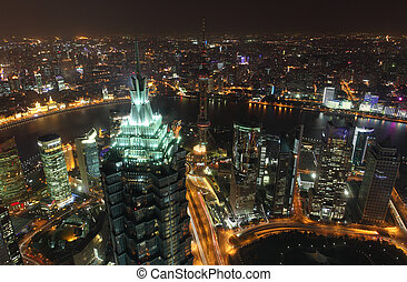 megacity, aéreo, encima, shanghai, noche, vista