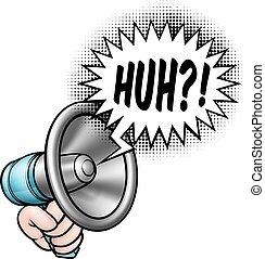 megafon, anförande, tecknad film, bubbla
