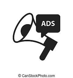 megafon, annons, svart, ikon