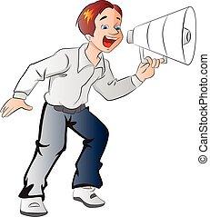 megafon, dreng, illustration, bruge