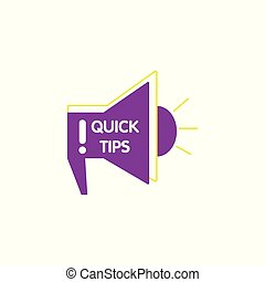 Megafon icon with Quick tips text for media and web vector illustration isolated.