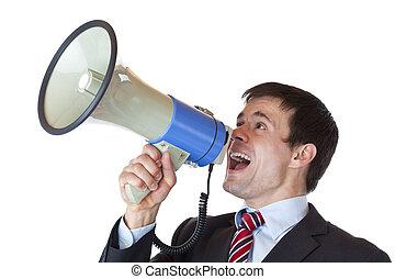 megafon, krzyki, biznesmen, loudly, młody, dynamiczny