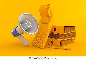 megafon, księgowość, tło