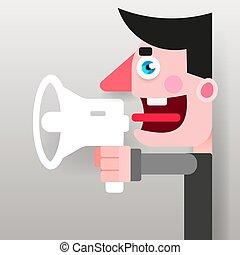 megafon, promoter, politician., vektor, räcker, campaigning, manlig