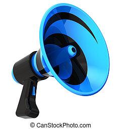 megafone, alto-falante, notícia, blog, comunicação, símbolo