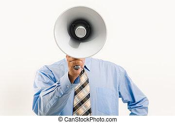 megafone, através, falando