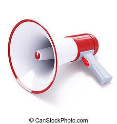 megafone, botão vermelho