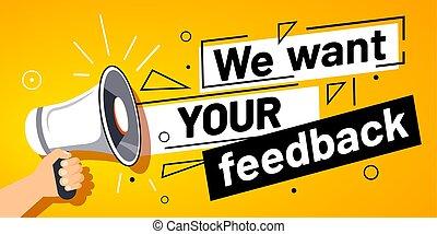 megafone, cliente, vetorial, bandeira, nós, feedbacks, querer, mão, feedback., seu, serviço, ilustração, opinião, levantamento, promoção