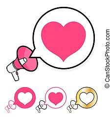 megafone, com, borbulho fala, e, coração