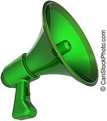 megafone, comunicação, total, verde