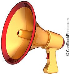 megafone, dourado, anúncio