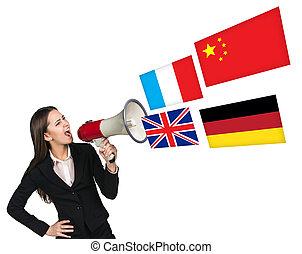 megafone, falar, linguagem estrangeira