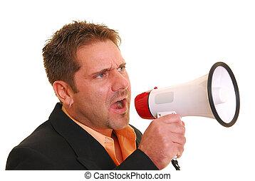 megafone, gritando, homem negócio