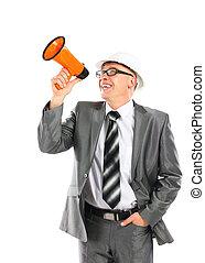 megafone, gritando, negócio, através, fundo, homem, branca