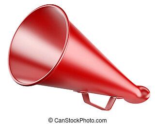 megafone, isolado, vermelho, white.
