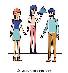 megafone, mão, grupo, pessoas