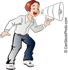 megafone, menino, ilustração, usando