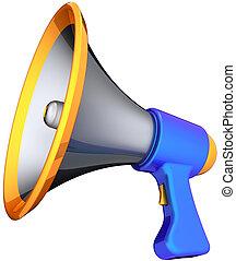 megafone, notícia, anunciar