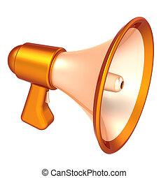 megafone, notícia, blog, comunicação, agitação, símbolo