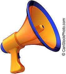 megafone, notícia, colorido, laranja
