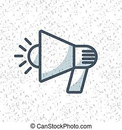 megafone, orador, isolado, ícone