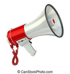 megafone, ou, alto-falante, isolado, branco