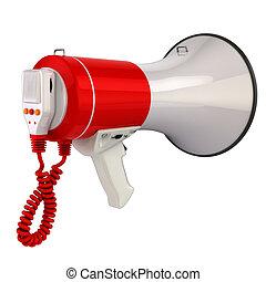 megafone, ou, alto-falante, isolado, ligado, white.