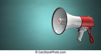megafone, ou, alto-falante, ligado, verde, vindima, experiência.