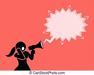 megafone, ou, loudspeaker., shouting, mulher, através