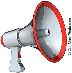 megafone, prata, cinzento, com, vermelho