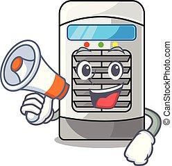 megafone, refrigerador, ar, parede montou, mascote